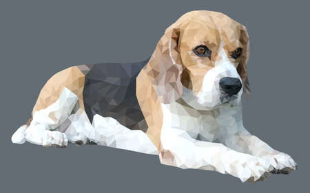 brown and black dog face: beagle dog Vector Polygon in gray background