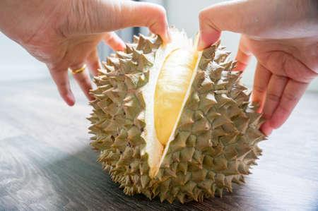 woman hand is peeling durian monthong 版權商用圖片
