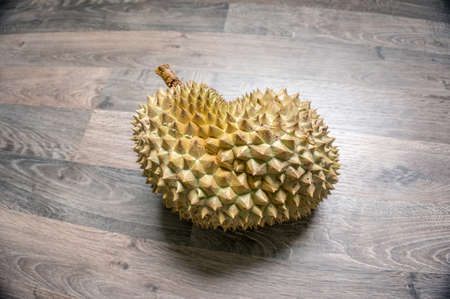 durian monthong in heart shape on the laminate floor