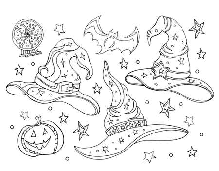 Set with magic hats. Black and white vector illustration of a witch hats, broomstick, crystal ball. Halloween set, coloring book. Hand drawing. Vetores