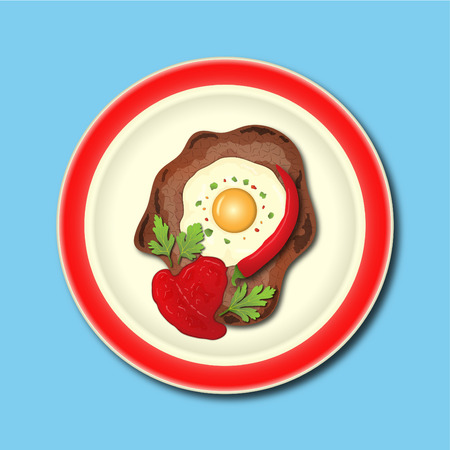 meat with egg and ketchup