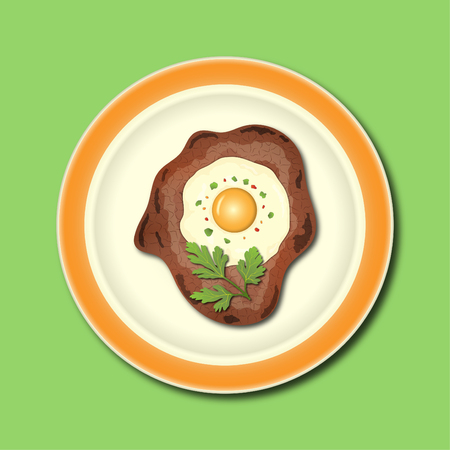 meat with egg Illustration