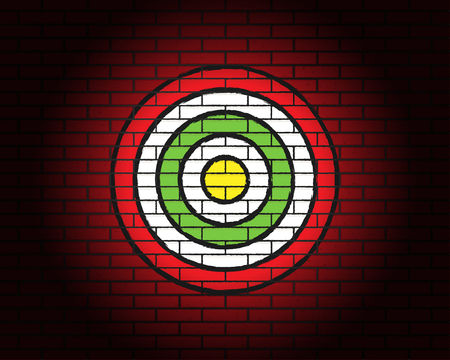 Target or aim with illumination on the red brick wall
