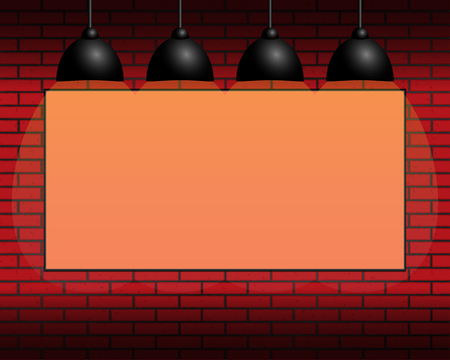 Billboard with orange background on the wall, yellow illumination, backlight, lamps