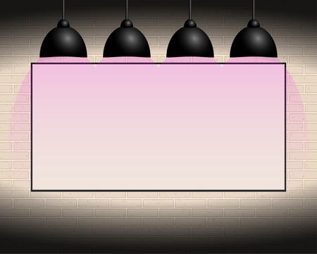 Billboard with white background on the wall, pink illumination, backlight Ilustrace