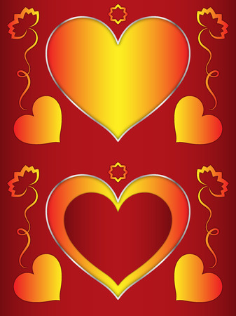 Heart, heart-shaped frame with orange hearts and flowers, frame for decoration
