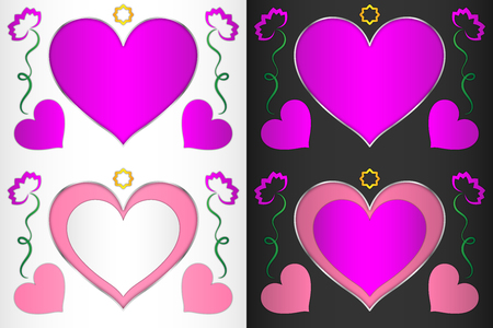 Heart, heart-shaped frame with pink hearts and flowers, frame for decoration
