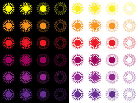 Conjunto de iconos de sol, etiqueta o logotipo de un sol.