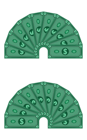 Dollars laid out in a semicircle, vector money