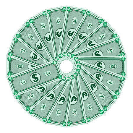 Dollars laid out in a circle, vector money