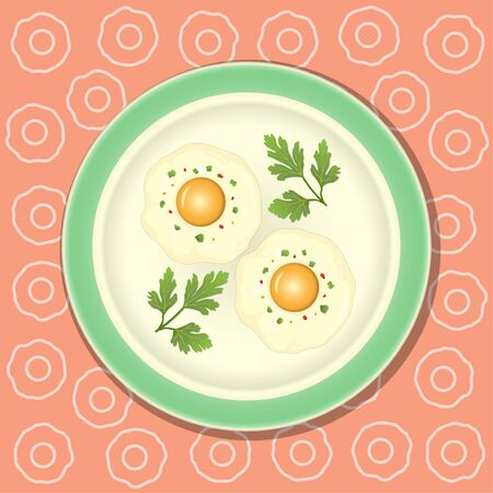 Fried egg with parsley on the plate.