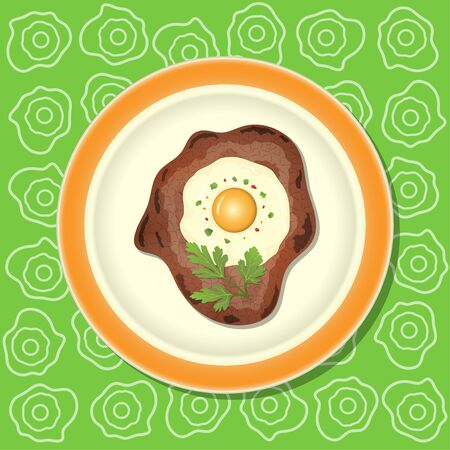 Fried meat with egg and parsley on the plate.