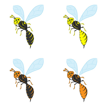 Vector illustration of a wasp. Set of vector wasps in yellow and orange colors