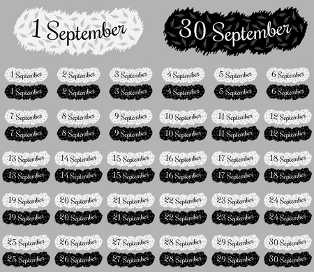 September date collection, ready inscription or lettering of september date with all month number for different applications, black-white version