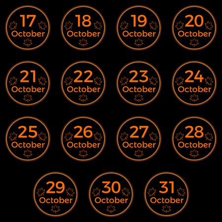 October date, date collection of october in orange color, black button with orange neon light and october date. Part 2