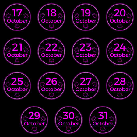 October date, date collection of October in magenta color, black button with magenta neon light and october date. Part 2