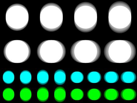 Vibrant circle, vibrating white cyan green circle, horizontal and vertical vibration