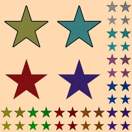 センター、星の形をした幾何学的な図から色のストライプでスター、ブラック スター コレクション
