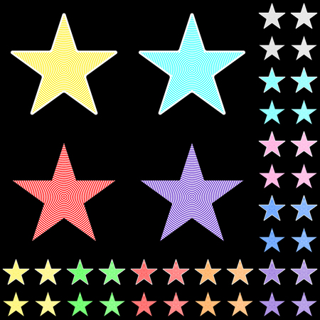 Star, white star collection with colored stripes leaving from the center.