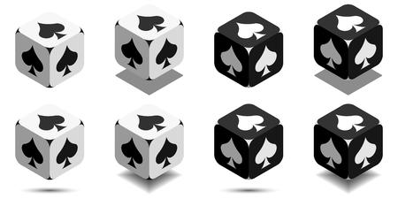 黒と白の色のカードのスペードのカードのスーツの側面にスペードの演奏のベクトルのアイコン等尺性キューブ キューブ  イラスト・ベクター素材