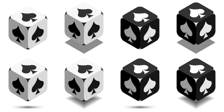 Cube with card spade in black and white colors, isometric cube with card suit on sides, vector icon of playing spade