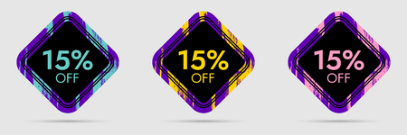 fifteen: 15% Off Discount Sticker. 15% Off Sale and Discount Price Banner. Vector Frame with Grunge and Price Discount Offer Illustration