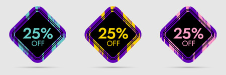 25% Off Discount Sticker. 25% Off Sale and Discount Price Banner. Vector Frame with Grunge and Price Discount Offer