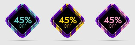 45% Off Discount Sticker. 45% Off Sale and Discount Price Banner. Vector Frame with Grunge and Price Discount Offer