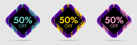 50% Off Discount Sticker. 50% Off Sale and Discount Price Banner. Vector Frame with Grunge and Price Discount Offer