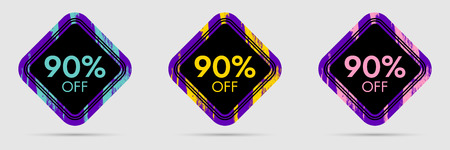 90% Off Discount Sticker. 90% Off Sale and Discount Price Banner. Vector Frame with Grunge and Price Discount Offer Illustration
