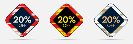 20% Off Discount Sticker. 20% Off Sale and Discount Price Banner. Vector Frame with Grunge and Price Discount Offer Illustration