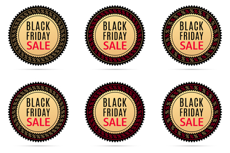 Black Friday Sale. Round Sticker with Advertising of Black Friday Day with black, gold and red color. Vector Colorful Sale Banner, isolated