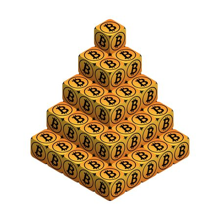 Bitcoin. Orange Large Bitcoin Pyramid. Isometric Pyramid consisting of Cubes with Black Bitcoin Sign on the Sides. Isolated Cubic Figure on White background Illustration