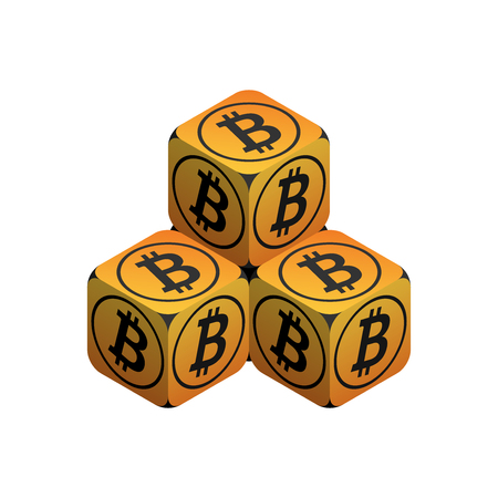 Bitcoin. Orange Small Bitcoin Pyramid. Isometric Pyramid consisting of Cubes with Black Bitcoin Sign on the Sides. Isolated Cubic Figure on White background