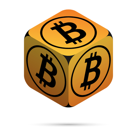 Bitcoin. Orange Bitcoin Cube. Isometric Cube with Black Bitcoin Sign on the Sides. Isolated Cubic Figure with Shadow on White background Illustration