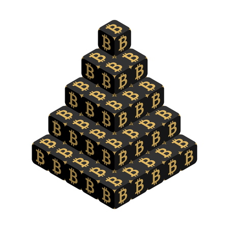 Bitcoin. Black Large Bitcoin Pyramid. Isometric Pyramid consisting of Cubes with Golden Bitcoin Sign on the Sides. Isolated Cubic Figure on White background Illustration