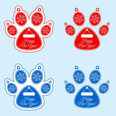 New Year sticker of dog paw.