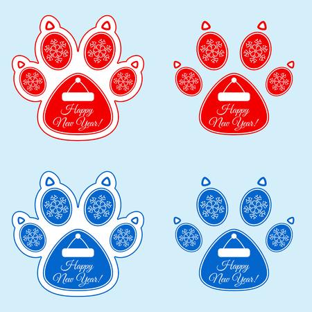 New Year sticker of dog paw.