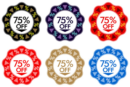 75% Off Discount Sticker. Set of Banner or Sticker Design with 75% Off Sale in Black, Dark-blue, Red, Golden and Blue color. Bright Design for Sales and Discounts of All Seasons Illustration