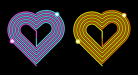 Vector Pink-Blue and Yellow-Orange Heart. Silhouette of Heart formed by Curved Line in the Spiral Shape, Isolated on the White Background