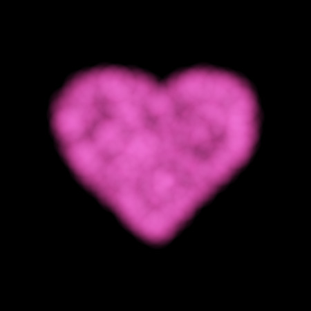 A Vector Cloud Heart for Use on Dark Background, has Transparency. Pink Smoke Heart on Black Backdrop, Element Can Use as Background