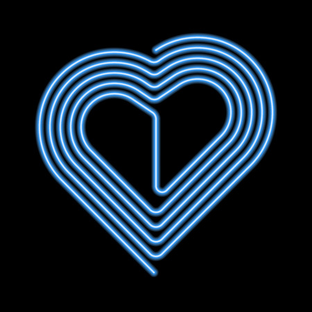 A Vector Neon Heart. Neon Silhouette of Blue Heart formed by Curved Line in the Spiral Shape, Isolated on the Black Background