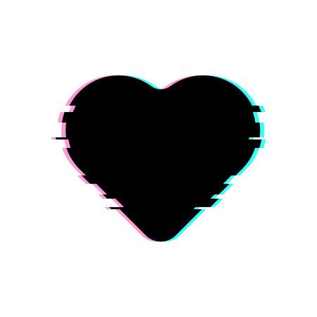 글리치 스타일의 검은 마음. 글리치 효과, 현대적이 고 트렌디 한 실루엣 벡터 심장 그림