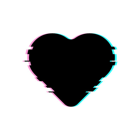 Black Heart in Glitch Style. Vector Heart Illustration with Glitch Effect, Modern and Trendy Silhouette Ilustração