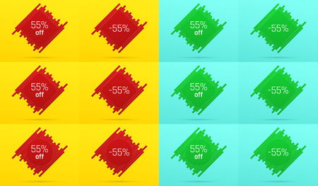 Creative Sale Banner with 55% Off. Offer of Price Discount on Background consisting of Tiles with Metallic Red and Green Color. Vector Set of Sale Badges with Discount