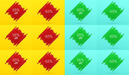 Creative Sale Banner with 65% Off. Offer of Price Discount on Background consisting of Tiles with Metallic Red and Green Color. Vector Set of Sale Badges with Discount Illustration
