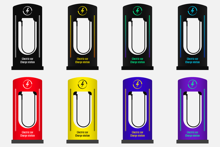 Charge Station for Electric Car. Vector Illustration of Electric Charge Station in Different Colors. Version 2 Vectores