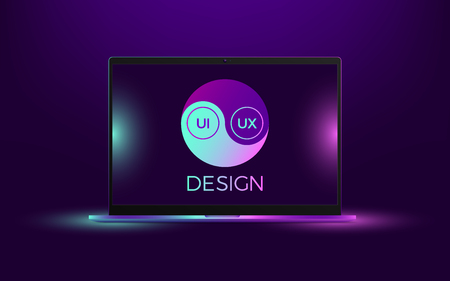 Vector laptop with blue and pink illumination. Computer notebook with Yin Yang symbol, concept of interdependent relations between User Interface and User Experience Design