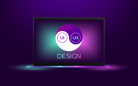 Vector laptop with UI and UX Yin Yang. Illustration of computer notebook with Yin Yang symbol, concept of interdependent relations between User Interface and User Experience Design