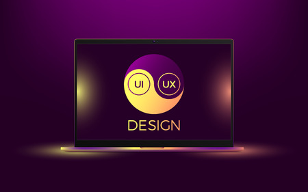Vector laptop with yellow and purple illumination. Computer notebook with Yin Yang symbol, concept of interdependent relations between User Interface and User Experience Design Illustration